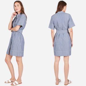 Everlane | NEW belted striped shirt dress  8